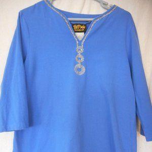 Bob Mackie Wearable Art Sz L beaded blue knit top